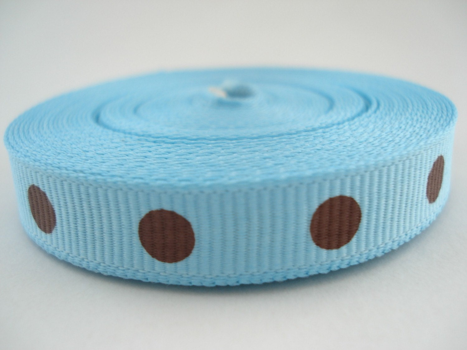 Ribbon Brown With Light Blue Dots 15