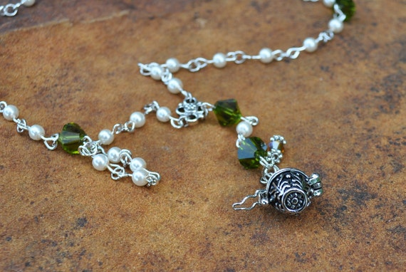Olivine Crystal and Pearl Prayer Beads with Prayer Box