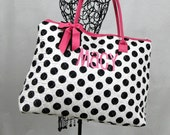 Extra Large Quilted Tote Bag White With Black Polka Dots and Fuchsia Trim Personalized For Free