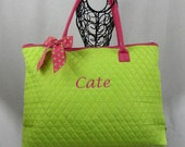Personalized Extra Large Quilted Tote Bag Lime With Fuchsia Trim