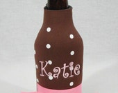 Personalized Long Neck Bottle Koozie Chocolate Brown With White Polka Dots And Pink Ribbon Trim