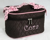 Personalized Cosmetic Train Case Chocolate Broen With Pink Trim-Monogram Included