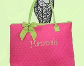 Personalized Extra Large Quilted Tote Bag Fuchsia With Lime Trim