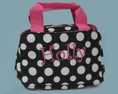 Personalized Lunch Bag In A Fun Black And White Polka Dots With Hot Pink Trim