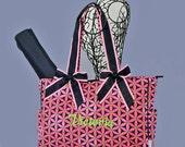 Personalized Quilted 2 Piece Diaper Bag Navy Blue and Pink With Lime Green Accents-Monogram Included In Price