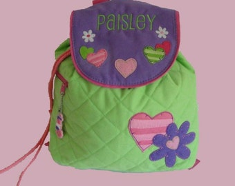 Personalized Stephen Joseph Backpack HEARTS Themed in Bright Green and Purple