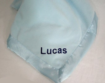 Super Soft Personalized Baby Blue Microfleece Baby Blanket Trimmed In Satin