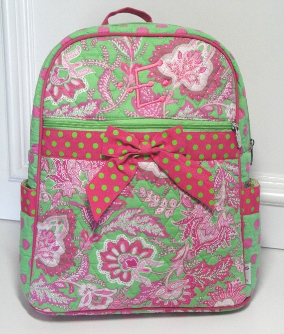 Large Quilted Cotton Floral Backpack Lime and Fuchsia Personalized For Free