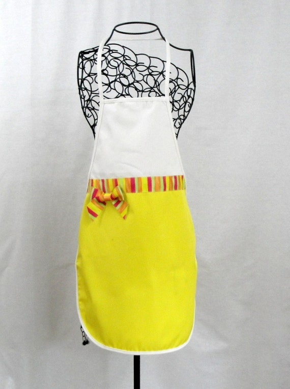 Personalized Adult Apron In Bright Yellow and White Twill Trimmed With Multi Striped Ribbon