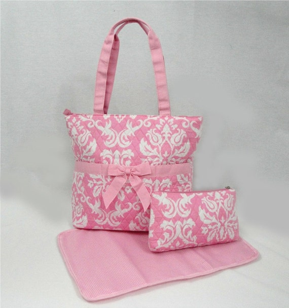 Personalized Quilted Pink and White Damask Quilted Diaper Bag