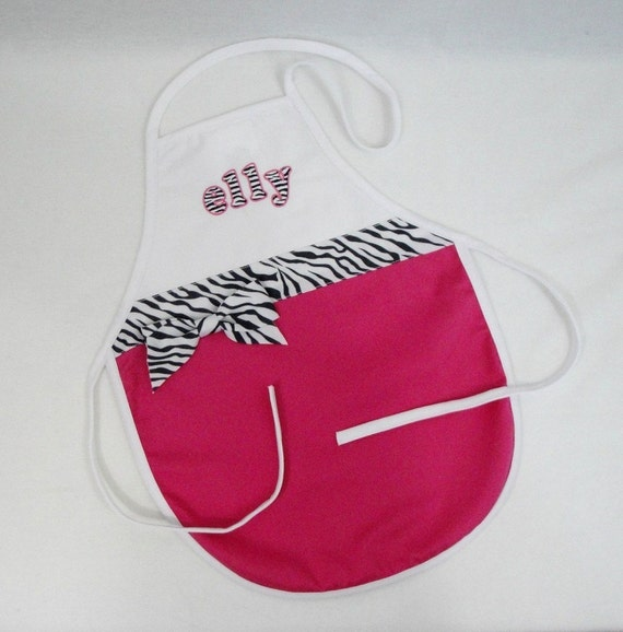 Personalized Child's Apron Hot Pink And White With Zebra Print