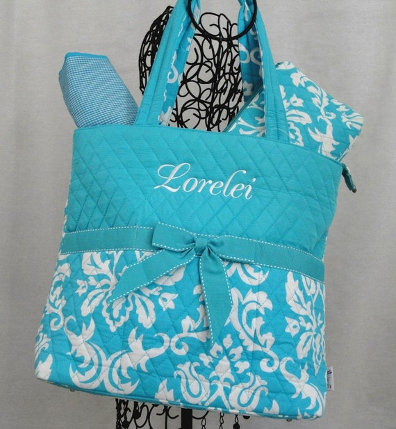 Blue Quilted Damask 3 Piece Diaper Bag Personalized for FREE