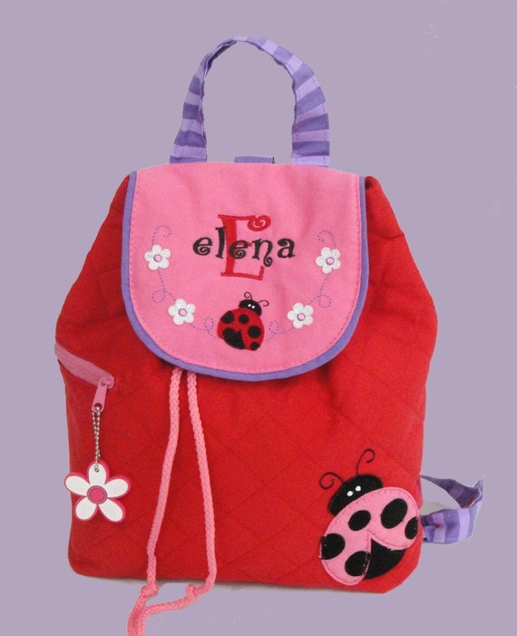 Child's Red Quilted Stephen Joseph LADYBUG Backpack Personalized For Free