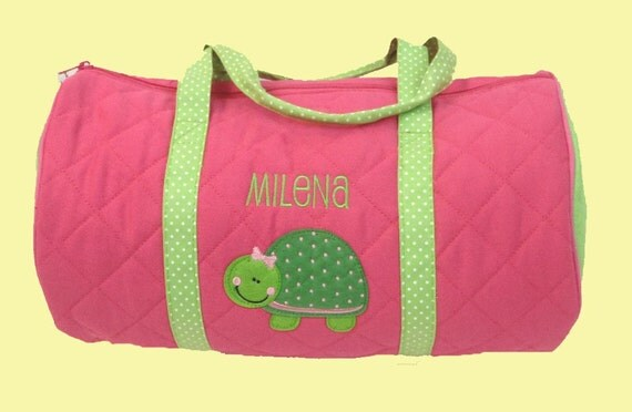 Child's Monogrammed Quilted Stephen Joseph TURTLE Duffle Bag