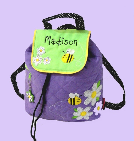 Monogrammed Stephen Joseph DAISY and BEE Quilted Backpack