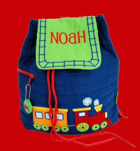 Child's Stephen Joseph  Quilted TRAIN Backpack Personalized For Free