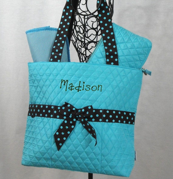 Three Piece Quilted Turquoise with Chocolate Brown Trim Diaper Bag Personalized for Free