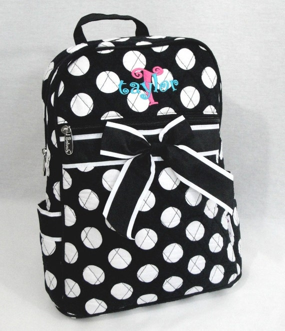 Personalized Backpack Medium Size Quilted Black With White Polka Dots-Monogramming Included