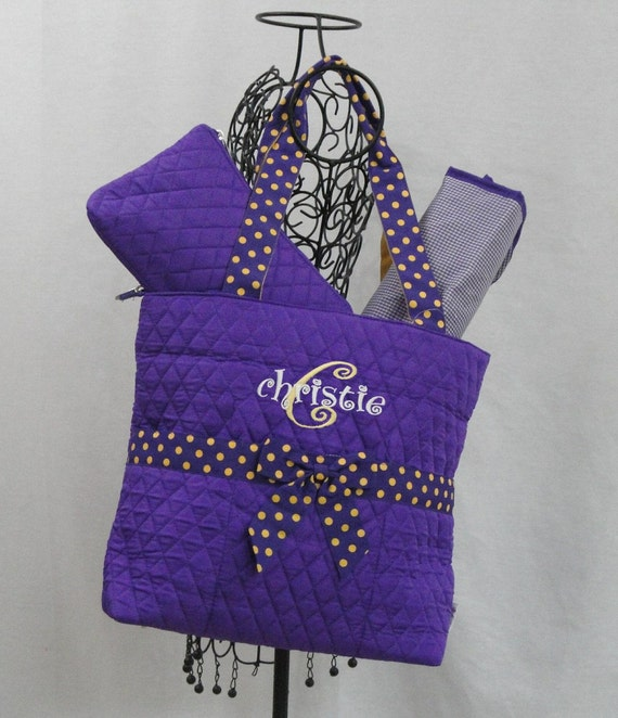Personalized 3 Piece Purple with Gold Trim Diaper Bag