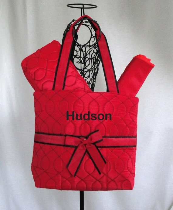 Personalized 3 Piece Quilted Diaper Bag Red  With Black Wave Stitch