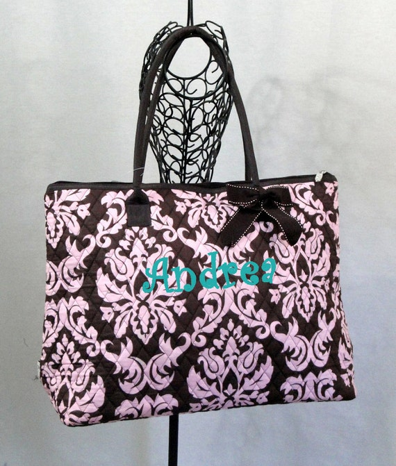 Personalized Tote Bag Extra Large Brown and Pink Quilted Damask