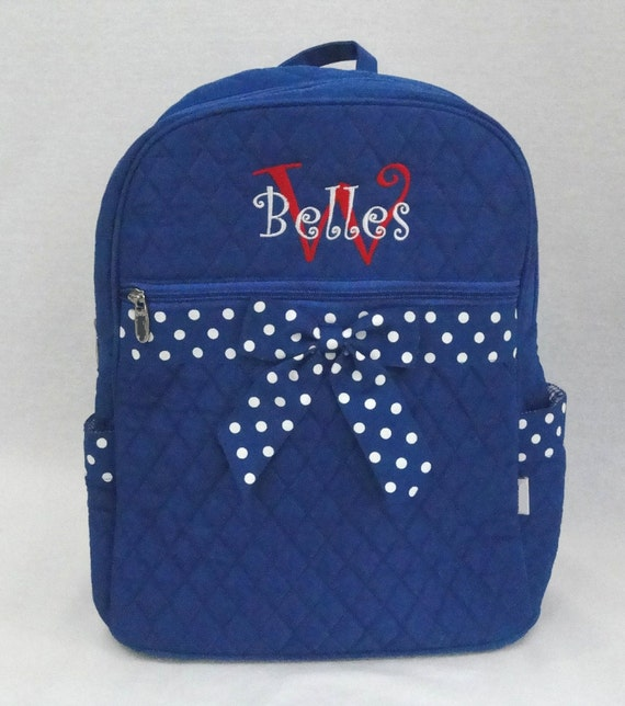 Large Quilted Backpack Royal  Blue With Royal And White Polka Dot Ribbon Trim Monogrammed For Free