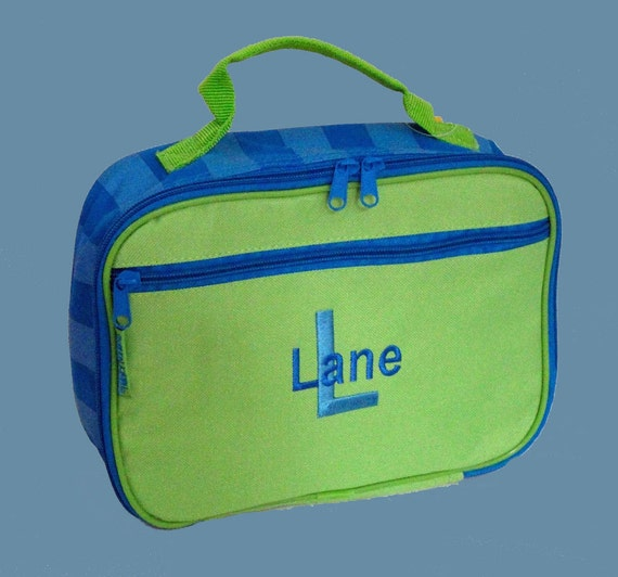 Personalized Stephen Joseph Lunchbox in Bright Green and Blue from the Simply Joseph Line