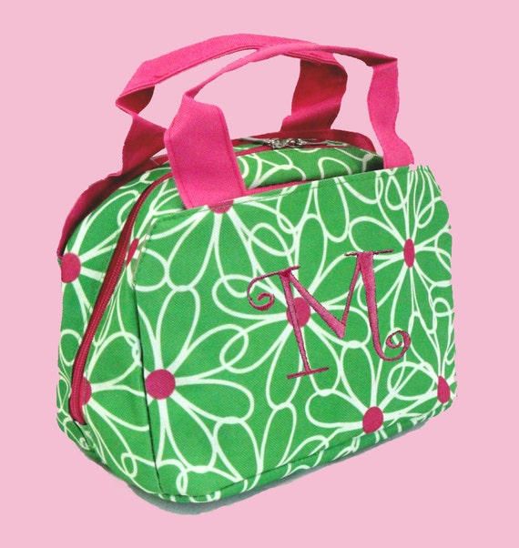 Personalized Lunch Bag In A Fresh Green and Pink Daisy Print