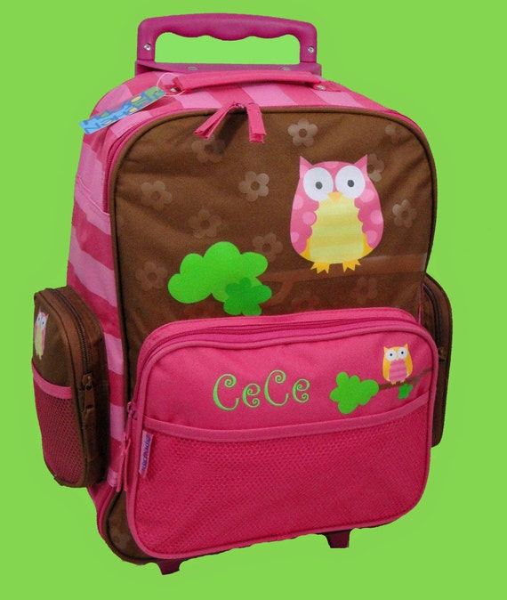 Personalized Stephen Joseph Rolling Luggage OWL Themed for Children