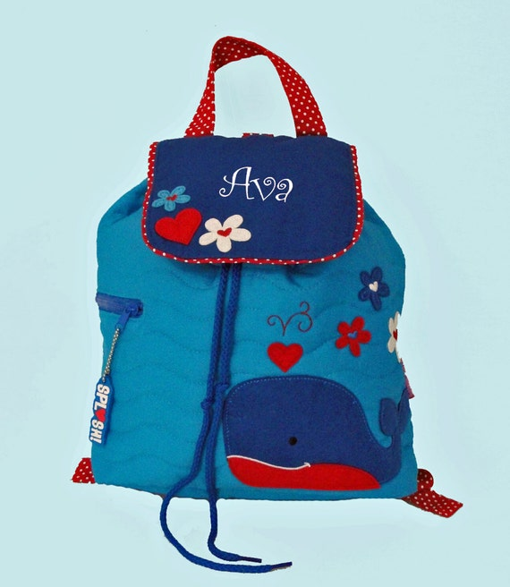 Personalized Stephen JosephChildren's  Backpack WHALE in Blue and Red-Monogramming Included In Price