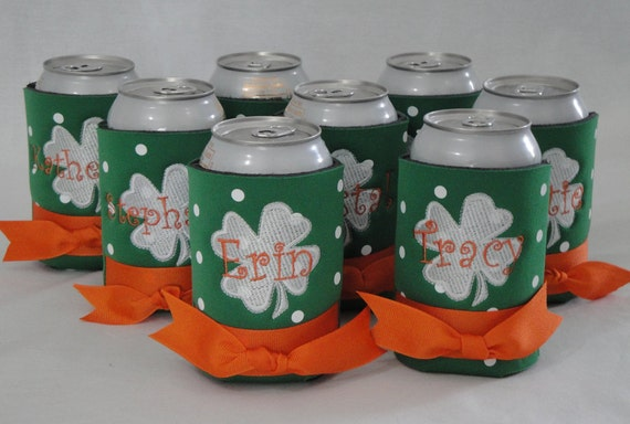 St Patricks Day Personalized Beverage Can Cooler Personalized