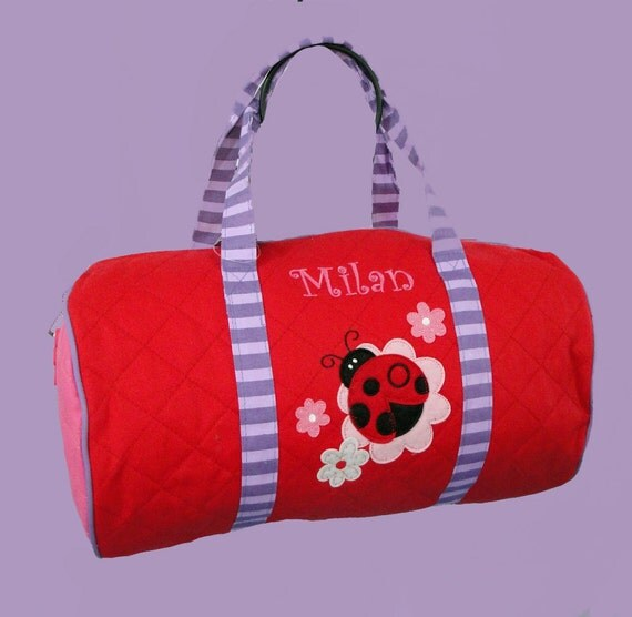Stephen Joseph LADYBUG Quilted Duffle Bag Personalizing Included
