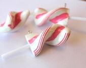 Kawaii Pendants Jumbo Pink And White Resin Candy Twist Lollipop Pendants 4pcs 75mm