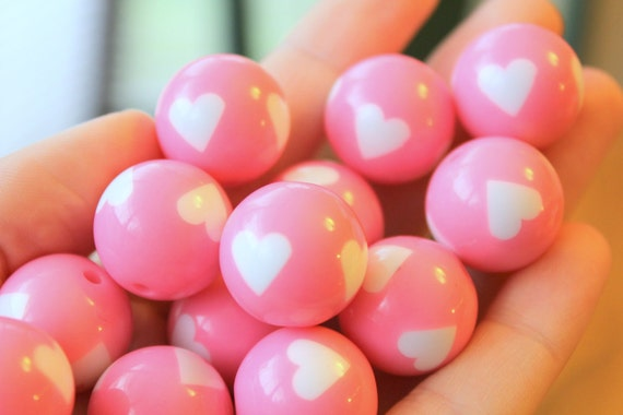 Acrylic Beads 20mm Large Cute Pink And White Heart Beads 7pcs
