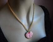 Necklace With Handmade Pink Czech. Glass Heart