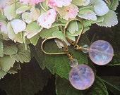 Translucent Pale Pink Handmade Brocade Glass Earrings