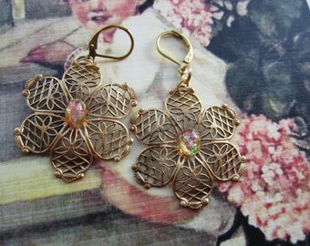 Ornate Filigree Earrings With Vintage Pink Opal Glass Gems