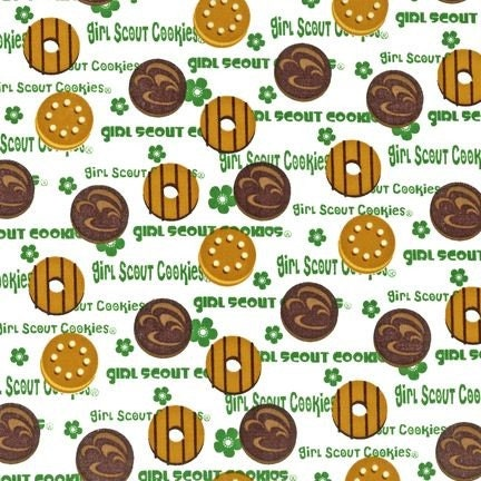 girl scout fabric by robert kaufman 1 yard cookies on white Girl Scout Brownie Coloring Pages Girl Scout Brownie Coloring Pages