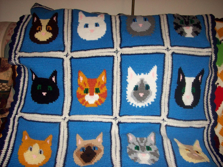 Crocheted Cat Afghan
