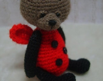 Miniature Crochet THREAD ARTist LadyBug Teddy Bear Pattern PDF