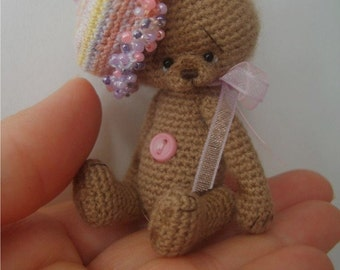 Miniature Crochet Thread Artist 'Trixee' Teddy Bear Pattern Instant Download PDF by Stefanie Devlin