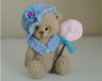 Miniature Crochet THREAD ARTist Bear and Lollipop Pattern PDF by Stefanie Devlin