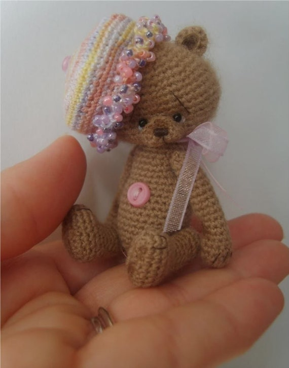 Free Crochet Mini Teddy Bear Pattern : TheTinyToyBox Miniature Crochet HAT Pattern PDF by ...