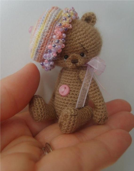 Miniature Crochet Thread Artist 'Trixee' Teddy Bear Pattern PDF by Stefanie Devlin