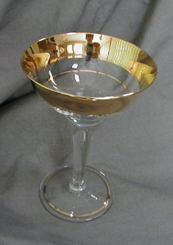 2 Champagne Glasses Or Flutes Wide Gold Band On Rim Long