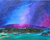 Mounted print of an original painting of Iona Winter Storm, Isle Of Iona, Scottish Western Isles
