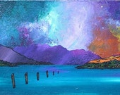 Mounted print of an original painting of A Loch Lomond Sunset From Luss, Scottish Highlands.