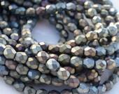 100 pcs 4mm Matte Brown Iris Czech Glass Firepolish