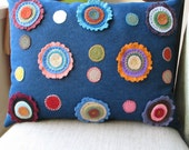 Folk Art Flower Pillow in Denim and Wool Felt