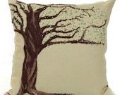 Embroidered Tree Pillow: Needle Felt on Linen